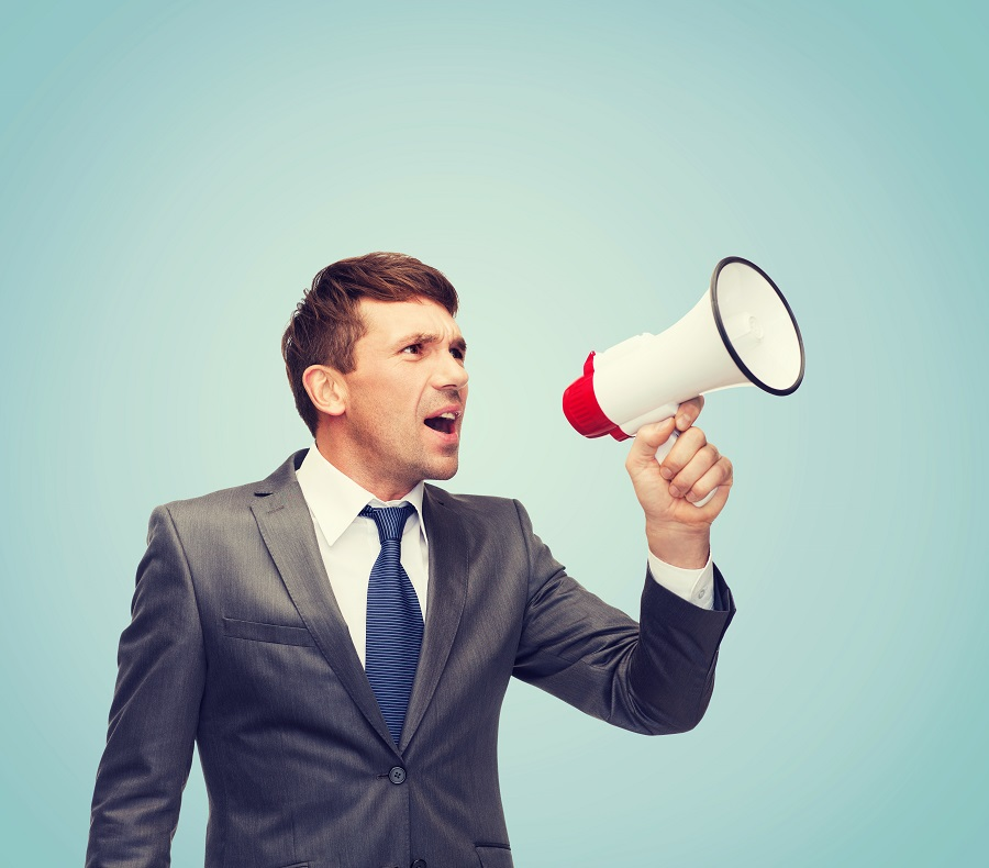 business, communication, hiring, searching, public announcement, office concept - buisnessman with bullhorn or megaphone